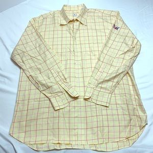 Peter Millar Mens XL Button Down Plaid Yellow Pink